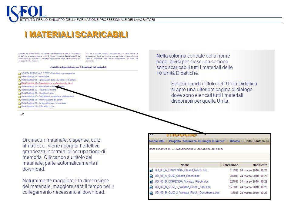 I MATERIALI SCARICABILI Nella colonna centrale della home page, divisi per ciascuna sezione, sono scaricabili tutti i materiali delle 10 Unità Didatti