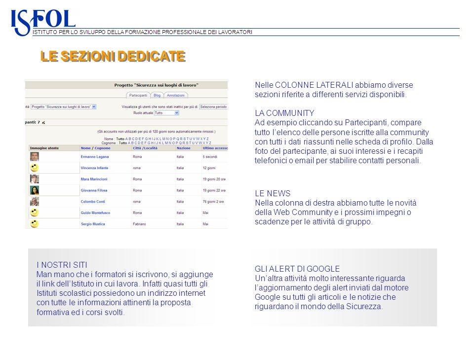 LE SEZIONI DEDICATE Nelle COLONNE LATERALI abbiamo diverse sezioni riferite a differenti servizi disponibili. LA COMMUNITY Ad esempio cliccando su Par
