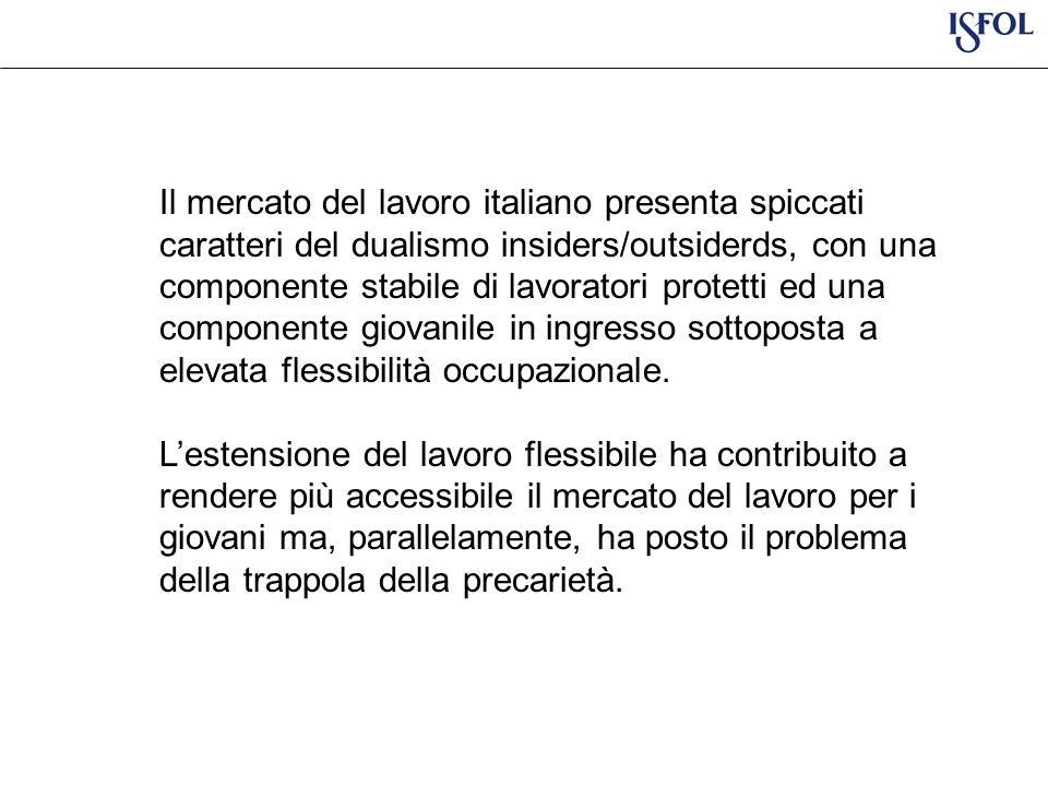 Il mercato del lavoro italiano presenta spiccati caratteri del dualismo insiders/outsiderds, con una componente stabile di lavoratori protetti ed una componente giovanile in ingresso sottoposta a elevata flessibilità occupazionale.