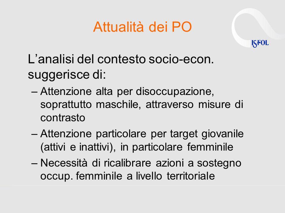 Attualità dei PO Lanalisi del contesto socio-econ.