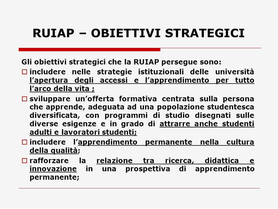 RUIAP – OBIETTIVI STRATEGICI Gli obiettivi strategici che la RUIAP persegue sono: includere nelle strategie istituzionali delle università lapertura d