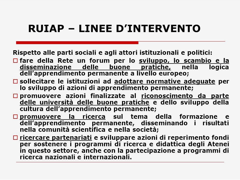 RUIAP – LINEE DINTERVENTO Rispetto alle parti sociali e agli attori istituzionali e politici: fare della Rete un forum per lo sviluppo, lo scambio e l