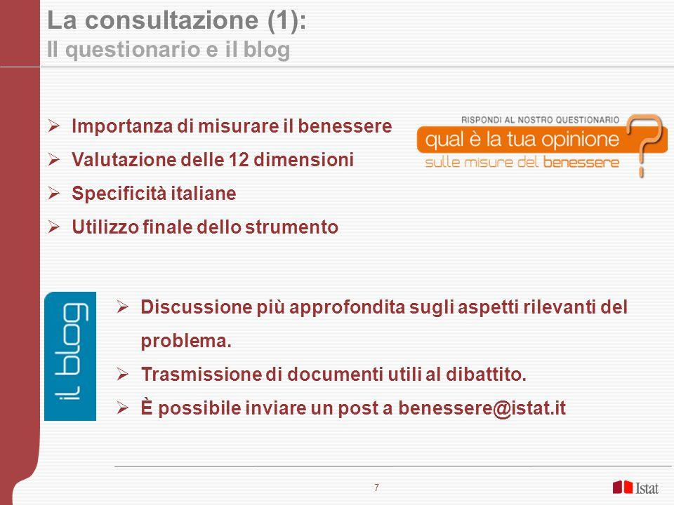 7 La consultazione (1): Il questionario e il blog Importanza di misurare il benessere Valutazione delle 12 dimensioni Specificità italiane Utilizzo fi