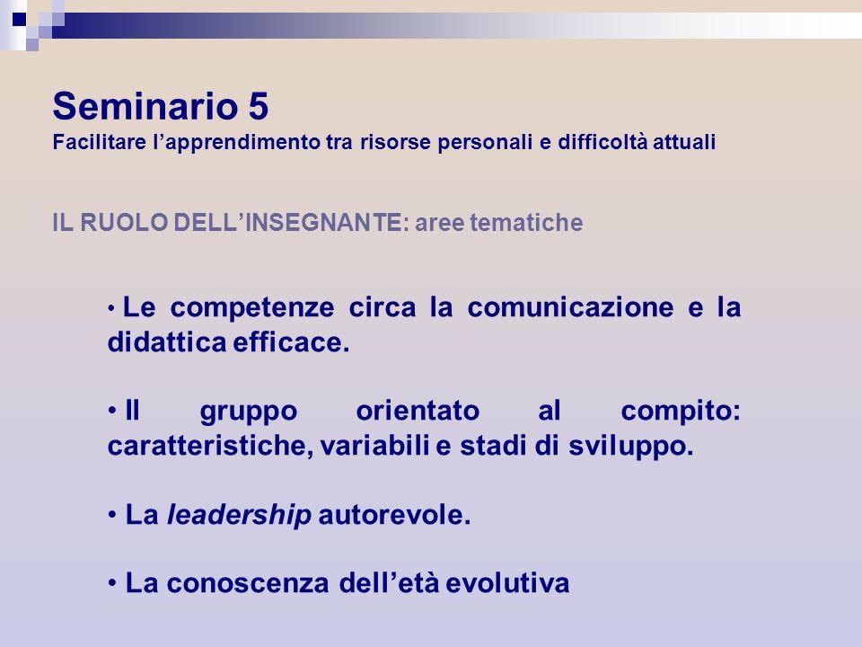 IL RUOLO DELLINSEGNANTE: aree tematiche Le competenze circa la comunicazione e la didattica efficace. Il gruppo orientato al compito: caratteristiche,