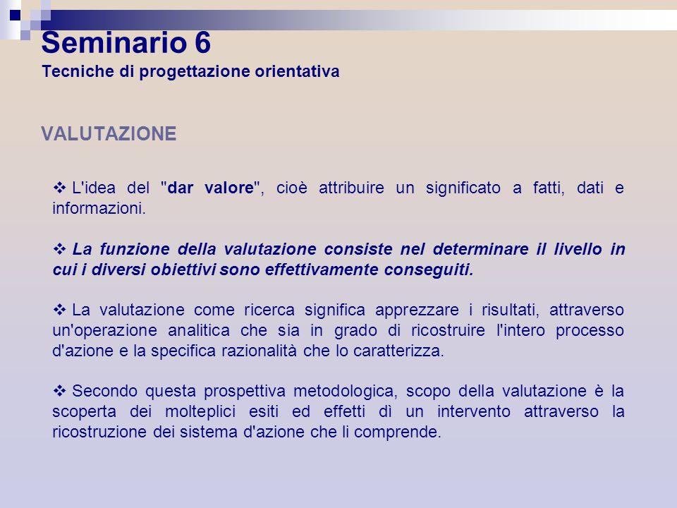Seminario 6 Tecniche di progettazione orientativa VALUTAZIONE L'idea del