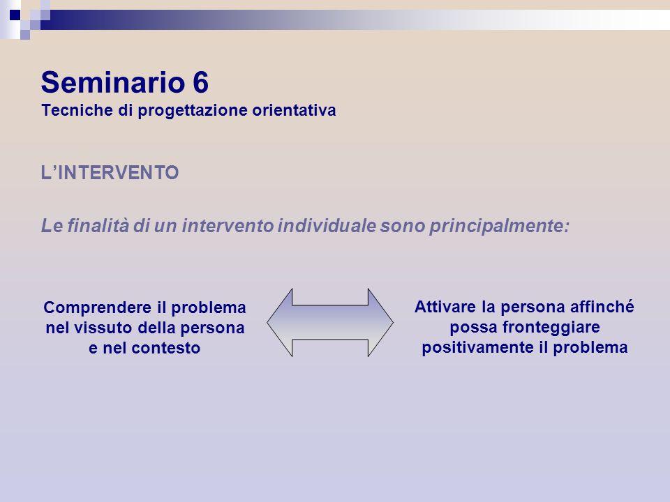 Seminario 6 Tecniche di progettazione orientativa LINTERVENTO Le finalità di un intervento individuale sono principalmente: Comprendere il problema ne