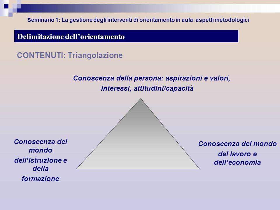 Seminario 1: La gestione degli interventi di orientamento in aula: aspetti metodologici CONTENUTI: Triangolazione Conoscenza della persona: aspirazion