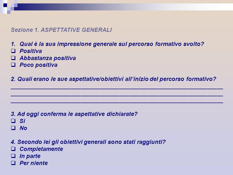 Sezione 1. ASPETTATIVE GENERALI 1.Qual è la sua impressione generale sul percorso formativo svolto? Positiva Abbastanza positiva Poco positiva 2. Qual