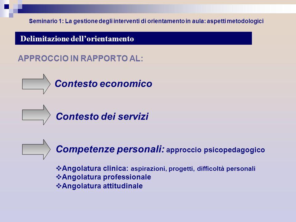 Seminario 1: La gestione degli interventi di orientamento in aula: aspetti metodologici APPROCCIO IN RAPPORTO AL: Contesto economico Delimitazione del