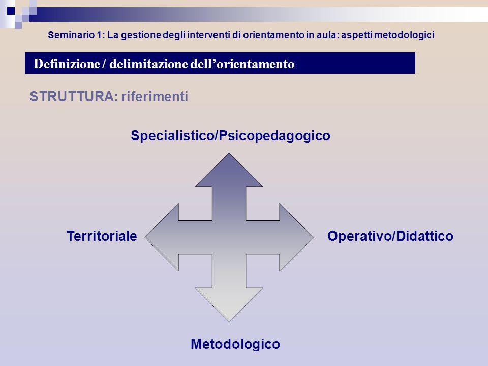 Seminario 1: La gestione degli interventi di orientamento in aula: aspetti metodologici STRUTTURA: riferimenti Specialistico/Psicopedagogico Definizio