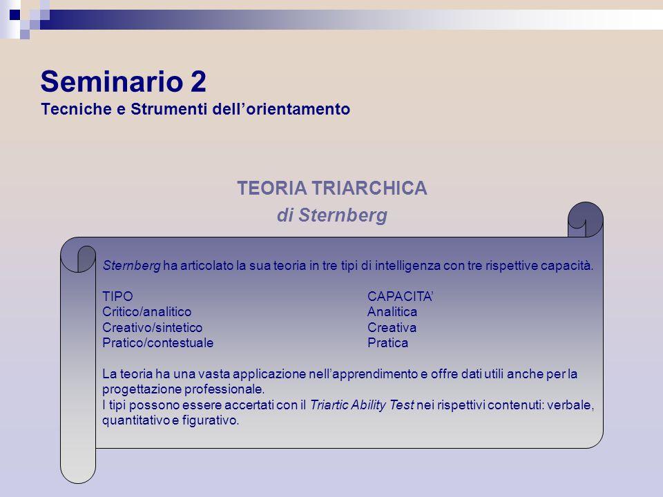 Seminario 2 Tecniche e Strumenti dellorientamento TEORIA TRIARCHICA di Sternberg Sternberg ha articolato la sua teoria in tre tipi di intelligenza con