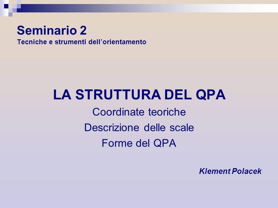 Seminario 2 Tecniche e strumenti dellorientamento LA STRUTTURA DEL QPA Coordinate teoriche Descrizione delle scale Forme del QPA Klement Polacek