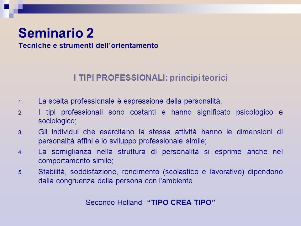 Seminario 2 Tecniche e strumenti dellorientamento I TIPI PROFESSIONALI: principi teorici 1. La scelta professionale è espressione della personalità; 2