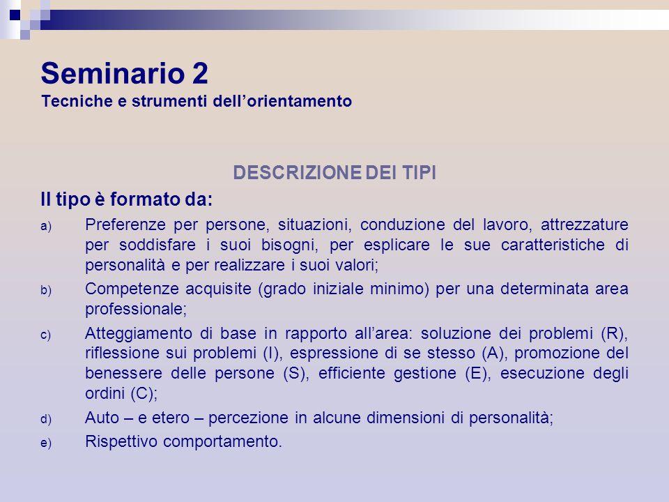 Seminario 2 Tecniche e strumenti dellorientamento DESCRIZIONE DEI TIPI Il tipo è formato da: a) Preferenze per persone, situazioni, conduzione del lav