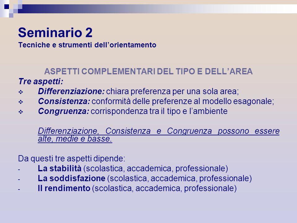 Seminario 2 Tecniche e strumenti dellorientamento ASPETTI COMPLEMENTARI DEL TIPO E DELLAREA Tre aspetti: Differenziazione: chiara preferenza per una s