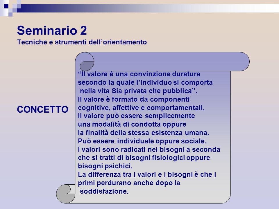 Seminario 2 Tecniche e strumenti dellorientamento CONCETTO Il valore è una convinzione duratura secondo la quale lindividuo si comporta nella vita Sia