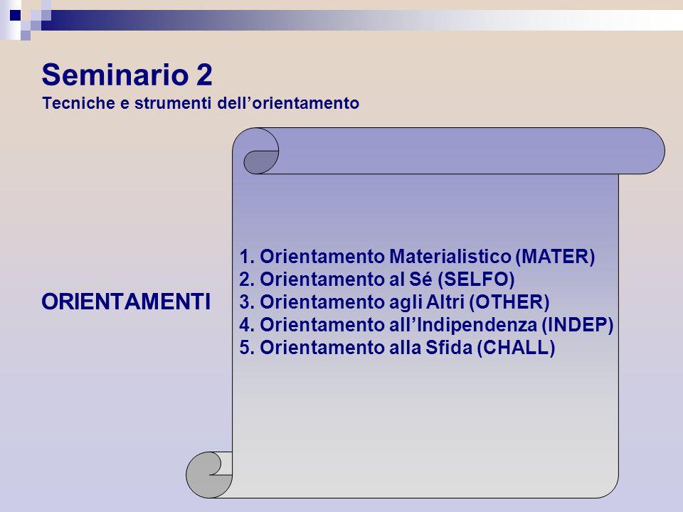 Seminario 2 Tecniche e strumenti dellorientamento ORIENTAMENTI 1. Orientamento Materialistico (MATER) 2. Orientamento al Sé (SELFO) 3. Orientamento ag