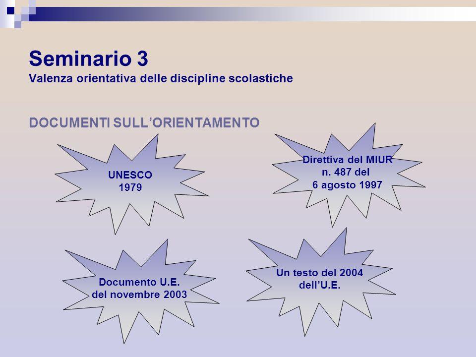 Seminario 3 Valenza orientativa delle discipline scolastiche DOCUMENTI SULLORIENTAMENTO UNESCO 1979 Direttiva del MIUR n. 487 del 6 agosto 1997 Docume
