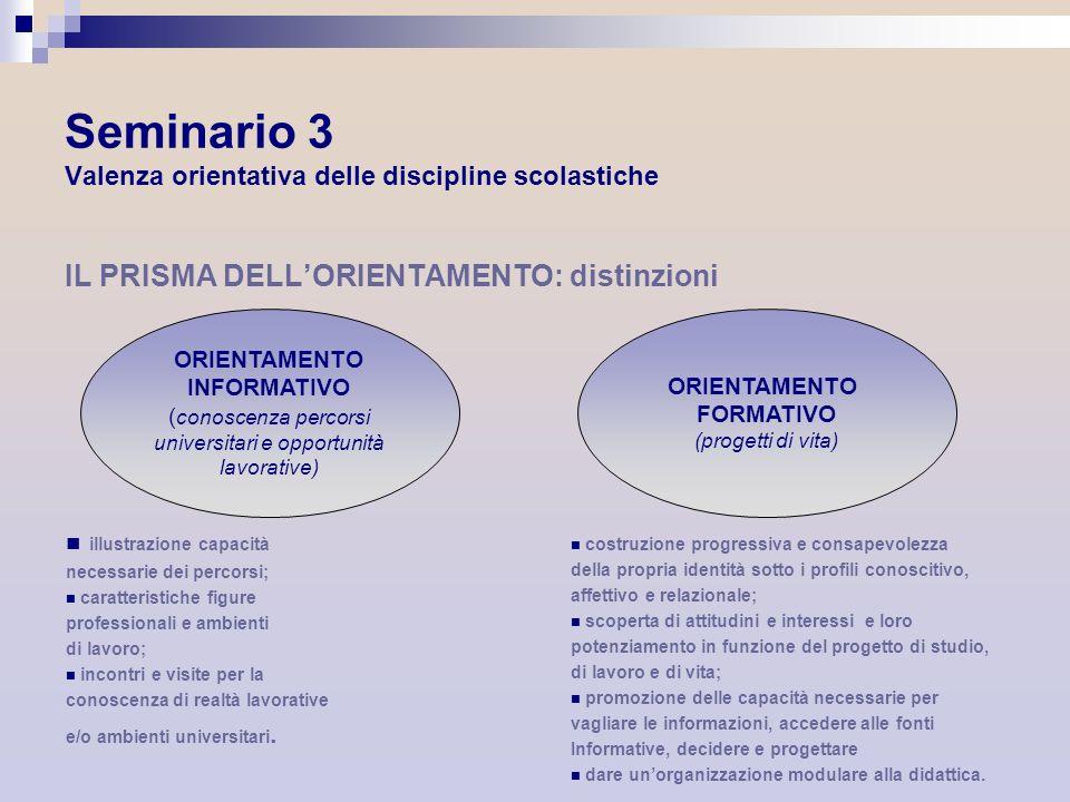 Seminario 3 Valenza orientativa delle discipline scolastiche IL PRISMA DELLORIENTAMENTO: distinzioni ORIENTAMENTO INFORMATIVO ( conoscenza percorsi un