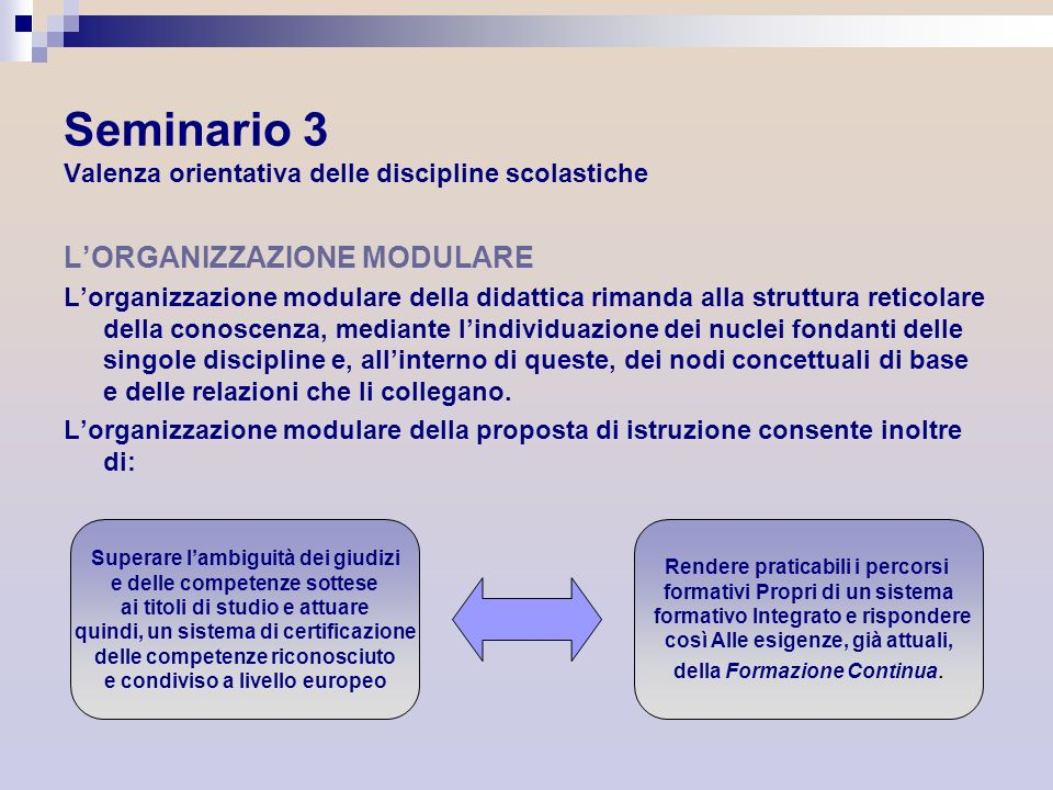 LORGANIZZAZIONE MODULARE Lorganizzazione modulare della didattica rimanda alla struttura reticolare della conoscenza, mediante lindividuazione dei nuc