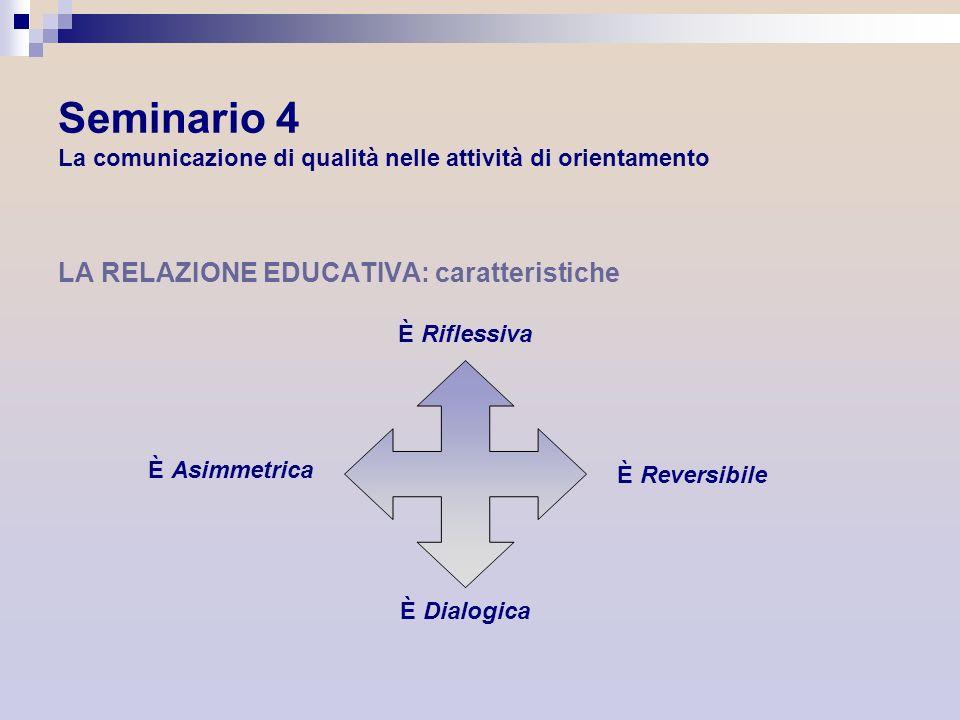 Seminario 4 La comunicazione di qualità nelle attività di orientamento LA RELAZIONE EDUCATIVA: caratteristiche È Riflessiva È Asimmetrica È Reversibil
