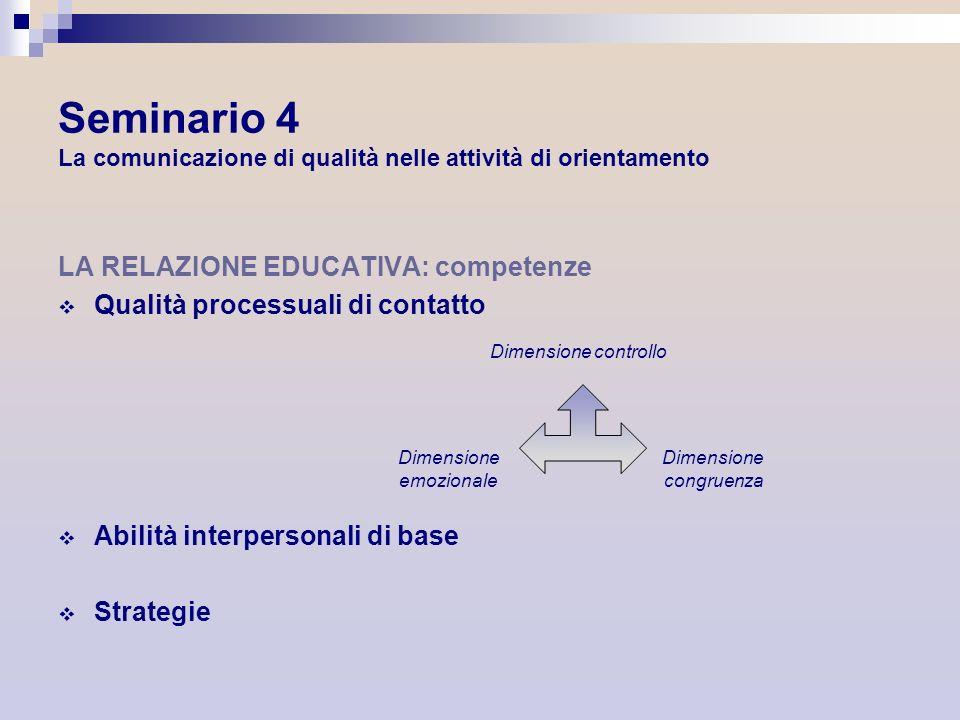Seminario 4 La comunicazione di qualità nelle attività di orientamento LA RELAZIONE EDUCATIVA: competenze Qualità processuali di contatto Abilità inte