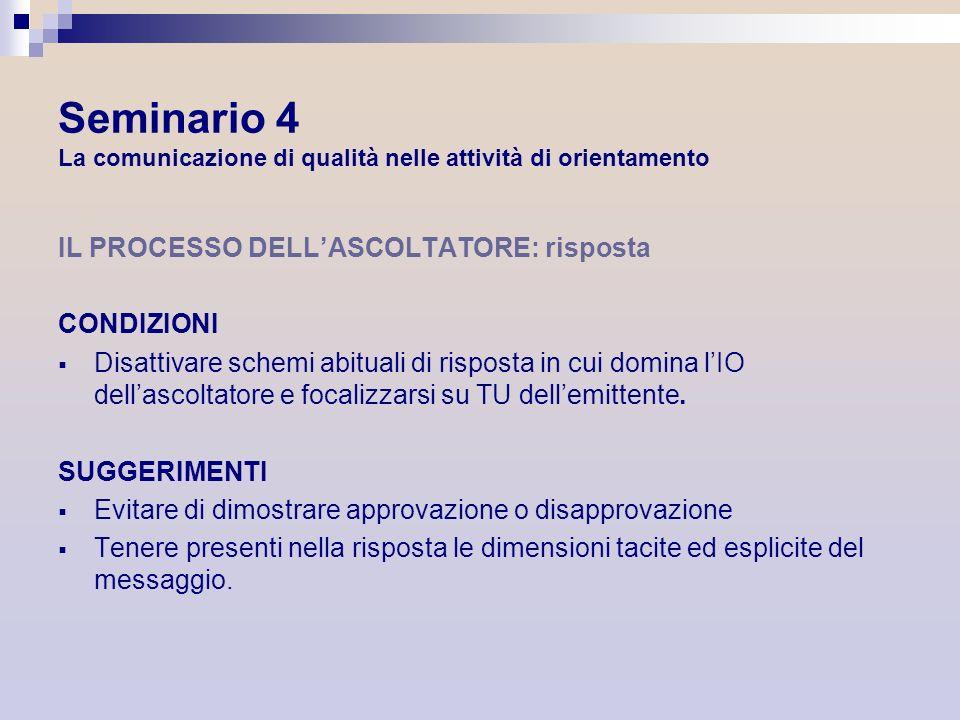 Seminario 4 La comunicazione di qualità nelle attività di orientamento IL PROCESSO DELLASCOLTATORE: risposta CONDIZIONI Disattivare schemi abituali di
