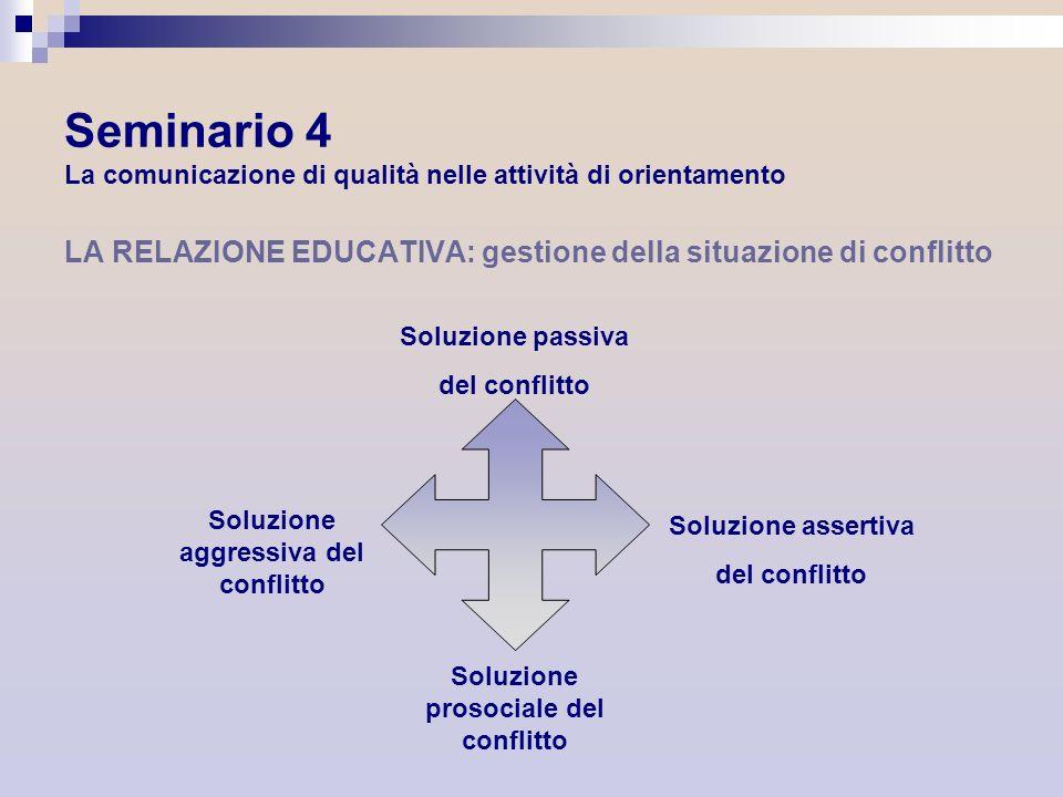 Seminario 4 La comunicazione di qualità nelle attività di orientamento LA RELAZIONE EDUCATIVA: gestione della situazione di conflitto Soluzione passiv
