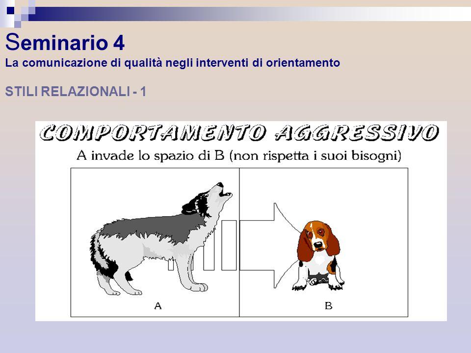S eminario 4 La comunicazione di qualità negli interventi di orientamento STILI RELAZIONALI - 1