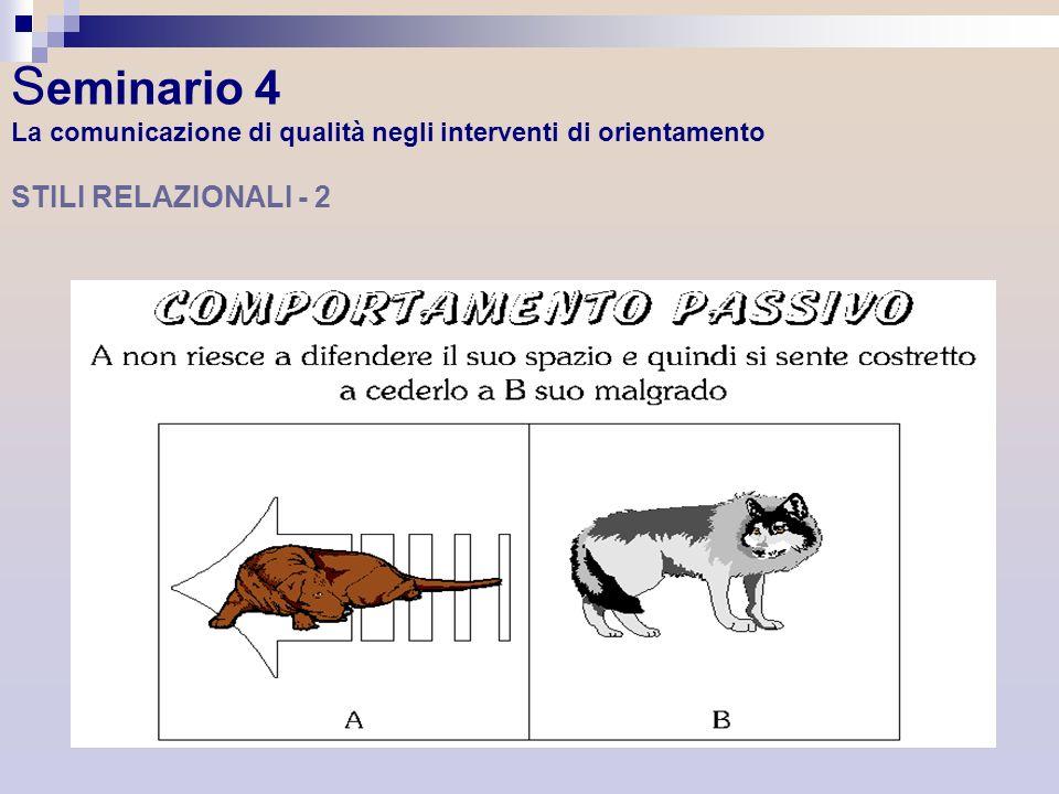 S eminario 4 La comunicazione di qualità negli interventi di orientamento STILI RELAZIONALI - 2
