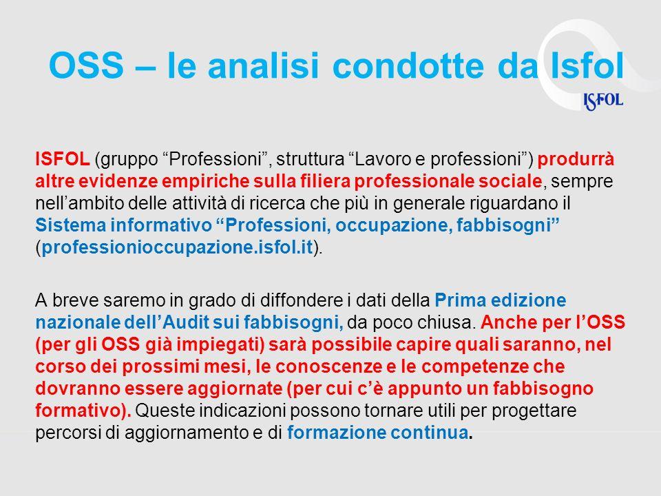 OSS – le analisi condotte da Isfol ISFOL (gruppo Professioni, struttura Lavoro e professioni) produrrà altre evidenze empiriche sulla filiera professi