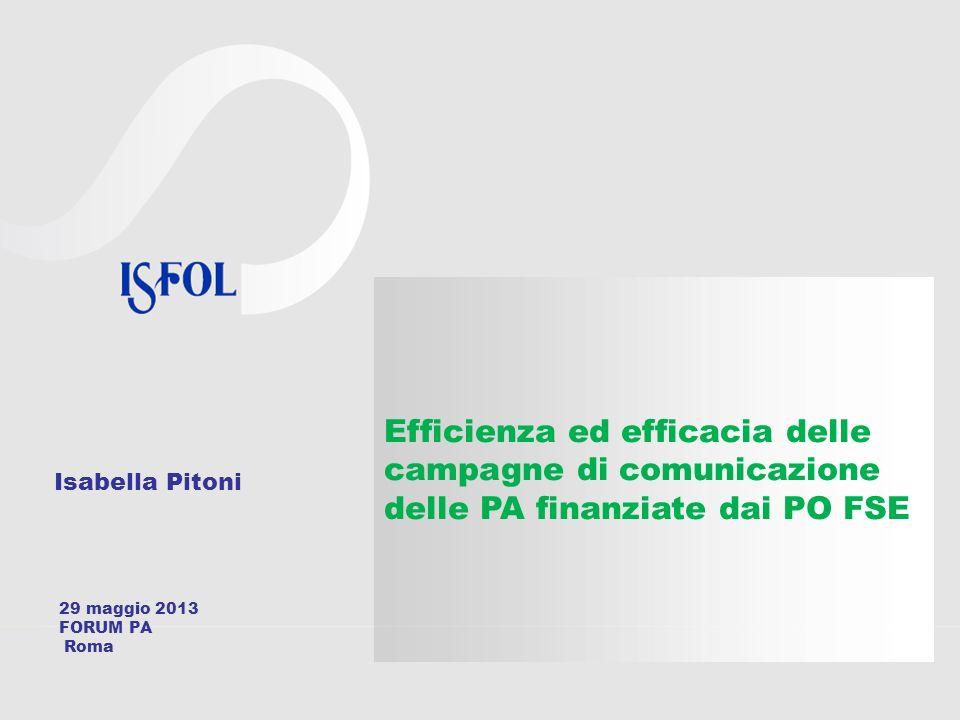 Isabella Pitoni Efficienza ed efficacia delle campagne di comunicazione delle PA finanziate dai PO FSE 29 maggio 2013 FORUM PA Roma