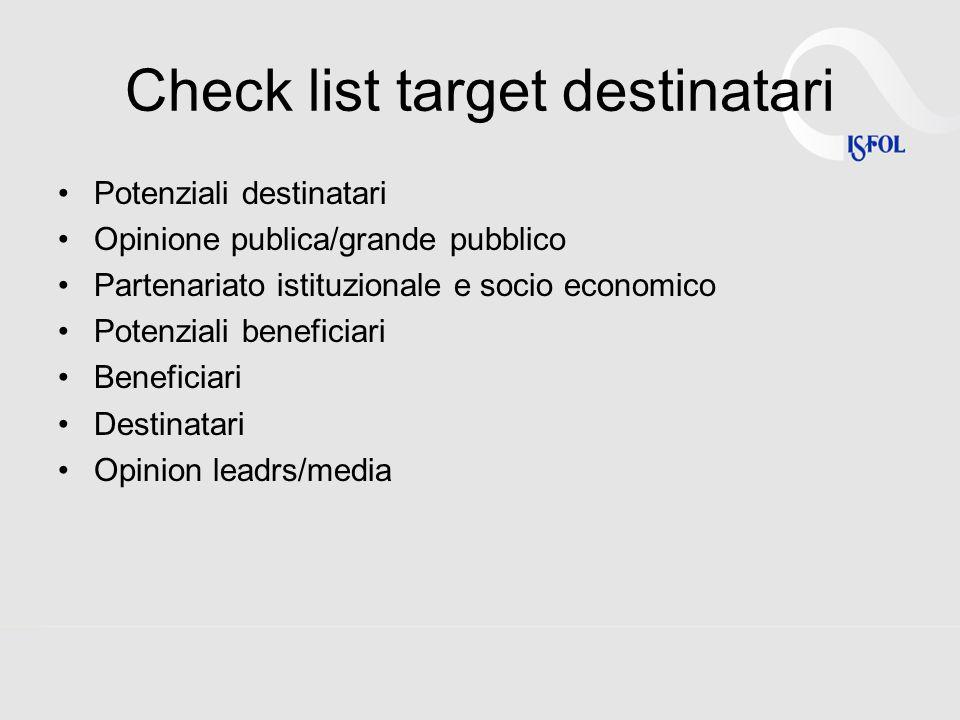Check list target destinatari Potenziali destinatari Opinione publica/grande pubblico Partenariato istituzionale e socio economico Potenziali benefici