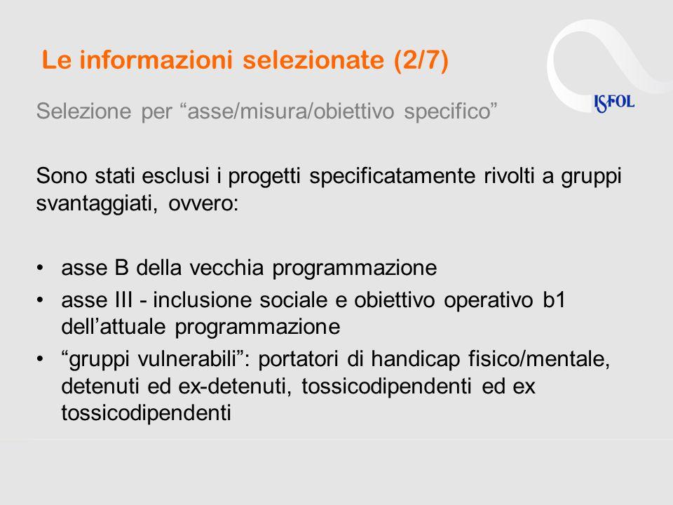 Le informazioni selezionate (2/7) Selezione per asse/misura/obiettivo specifico Sono stati esclusi i progetti specificatamente rivolti a gruppi svanta