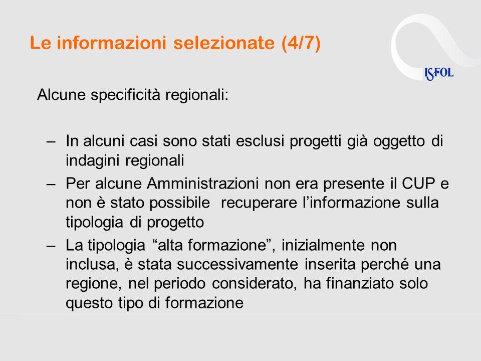 Le informazioni selezionate (4/7) Alcune specificità regionali: –In alcuni casi sono stati esclusi progetti già oggetto di indagini regionali –Per alc