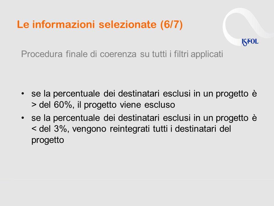 Le informazioni selezionate (6/7) Procedura finale di coerenza su tutti i filtri applicati se la percentuale dei destinatari esclusi in un progetto è > del 60%, il progetto viene escluso se la percentuale dei destinatari esclusi in un progetto è < del 3%, vengono reintegrati tutti i destinatari del progetto