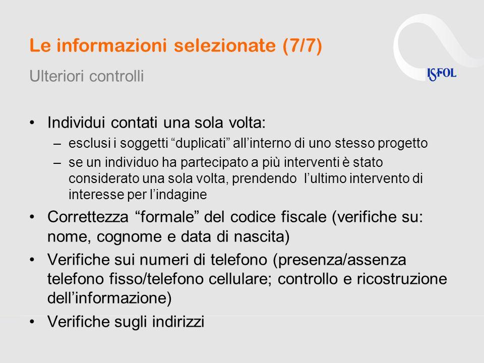 Le informazioni selezionate (7/7) Ulteriori controlli Individui contati una sola volta: –esclusi i soggetti duplicati allinterno di uno stesso progett