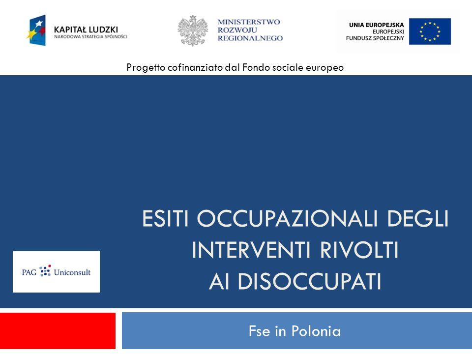 ESITI OCCUPAZIONALI DEGLI INTERVENTI RIVOLTI AI DISOCCUPATI Fse in Polonia Progetto cofinanziato dal Fondo sociale europeo