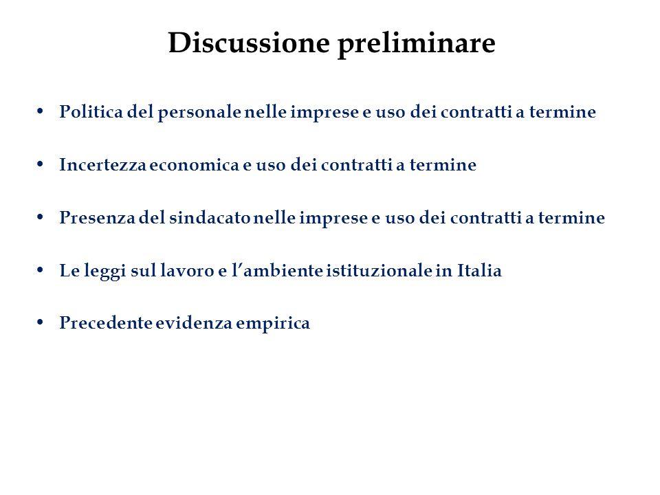 Discussione preliminare Politica del personale nelle imprese e uso dei contratti a termine Incertezza economica e uso dei contratti a termine Presenza