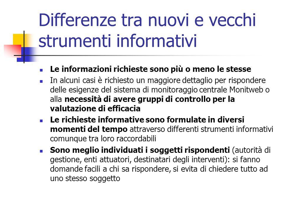 Differenze tra nuovi e vecchi strumenti informativi Le informazioni richieste sono più o meno le stesse In alcuni casi è richiesto un maggiore dettagl
