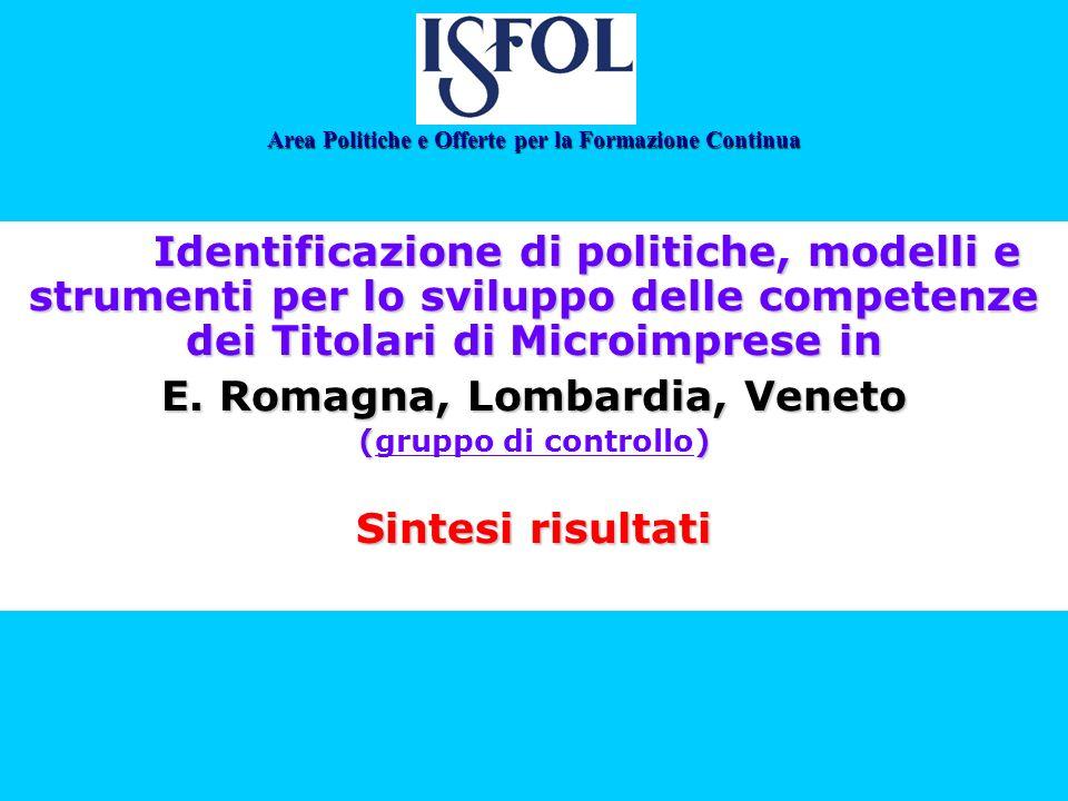 Identificazione di politiche, modelli e strumenti per lo sviluppo delle competenze dei Titolari di Microimprese in E. Romagna, Lombardia, Veneto () (g