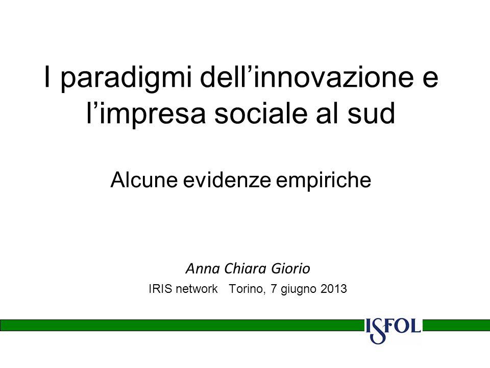I paradigmi dellinnovazione e limpresa sociale al sud Alcune evidenze empiriche Anna Chiara Giorio IRIS network Torino, 7 giugno 2013