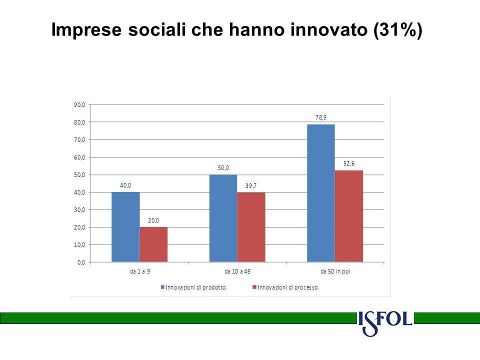 Imprese sociali che hanno innovato (31%)