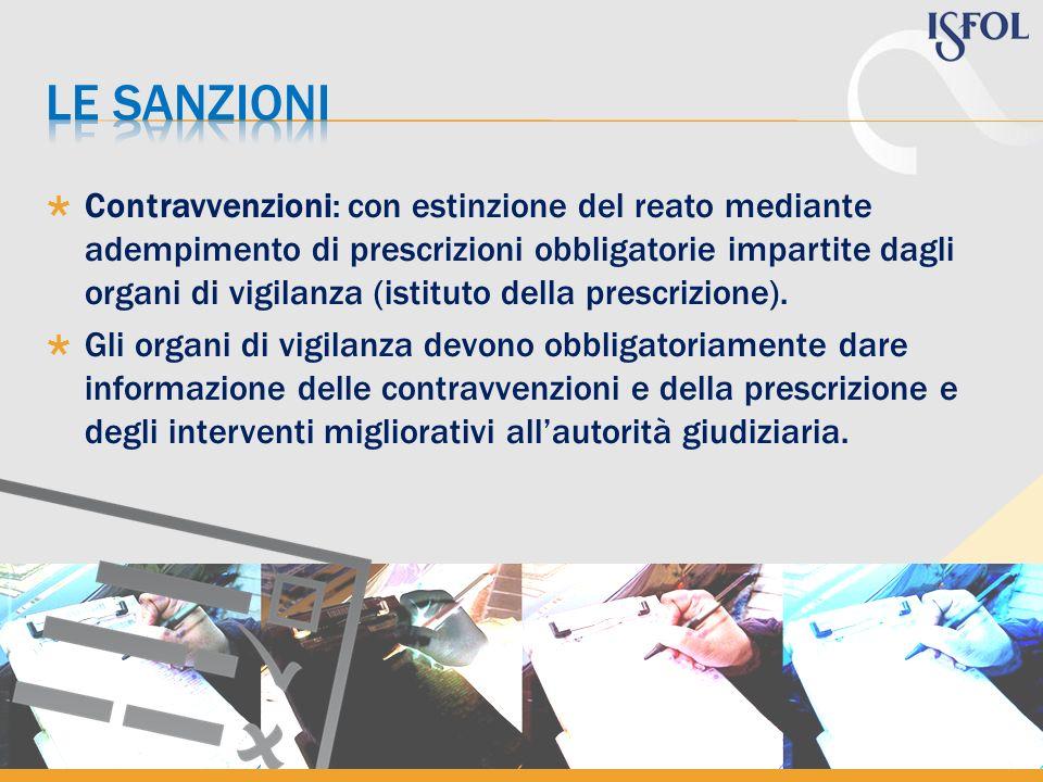 Contravvenzioni: con estinzione del reato mediante adempimento di prescrizioni obbligatorie impartite dagli organi di vigilanza (istituto della prescr