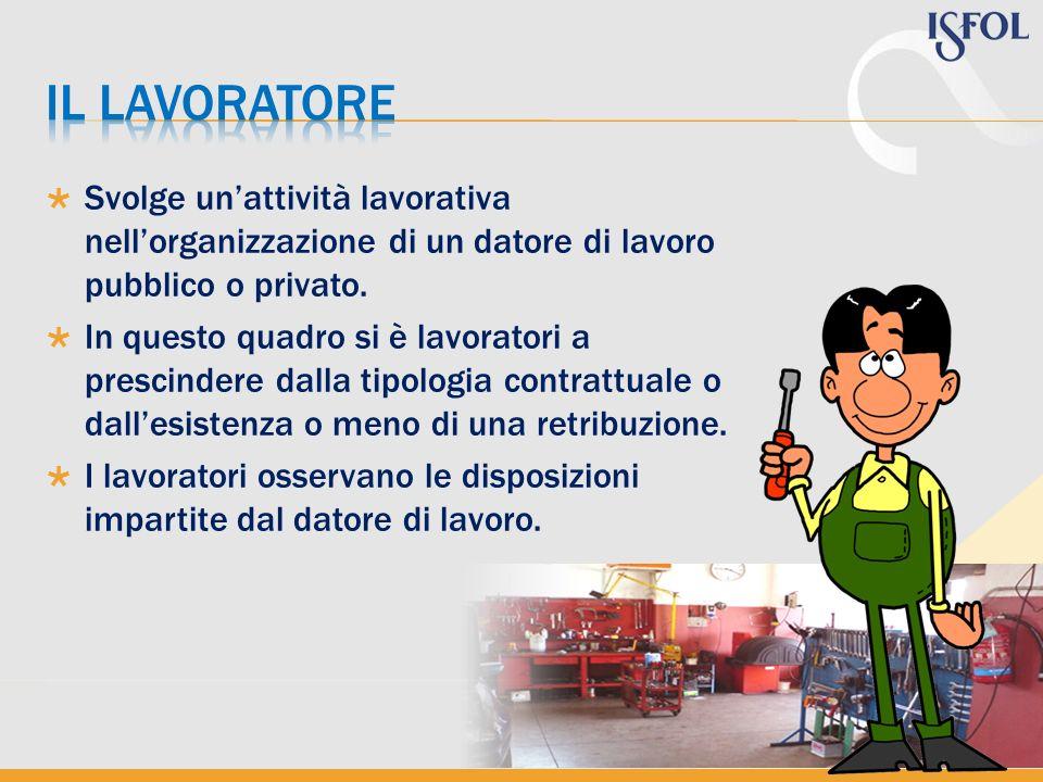 Svolge unattività lavorativa nellorganizzazione di un datore di lavoro pubblico o privato. In questo quadro si è lavoratori a prescindere dalla tipolo