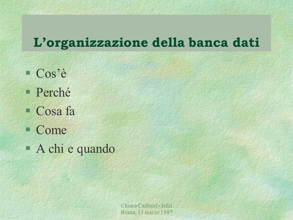 Chiara Carlucci - Isfol Roma, 13 marzo 1997 Come §Rispetto al complesso delle informazioni contenute nella macroscheda, viene svolto un processo di repackaging nella fase di presentazione dei risultati della ricerca per comunicare efficaciemente le risposte ai bisogni informativi.
