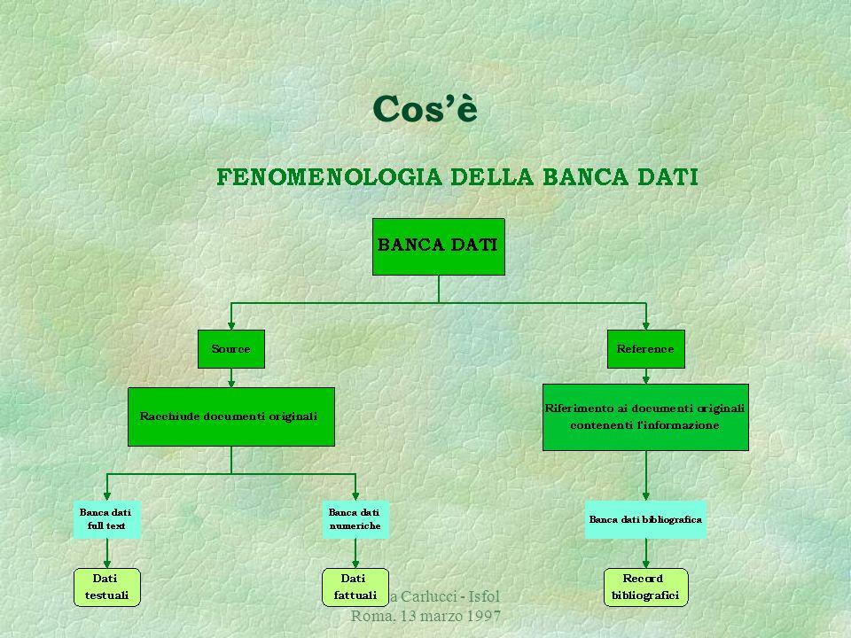 Chiara Carlucci - Isfol Roma, 13 marzo 1997 Cosè §La banca dati bibliografica è una collezione di informazioni relative ad un preciso dominio di conoscenze, organizzata secondo relazioni contestuali allo scopo di poter essere consultata dai suoi utilizzatori.