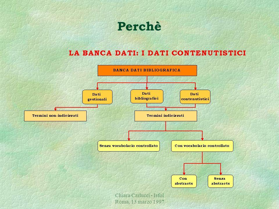 Chiara Carlucci - Isfol Roma, 13 marzo 1997 §La banca dati bibliografica agevola le attività di ricerca ponendosi quale strumento che trasforma i biso