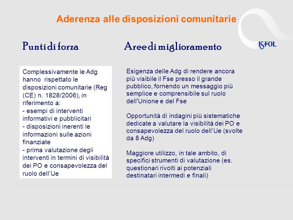 Aderenza alle disposizioni comunitarie Punti di forzaAree di miglioramento Complessivamente le Adg hanno rispettato le disposizioni comunitarie (Reg (