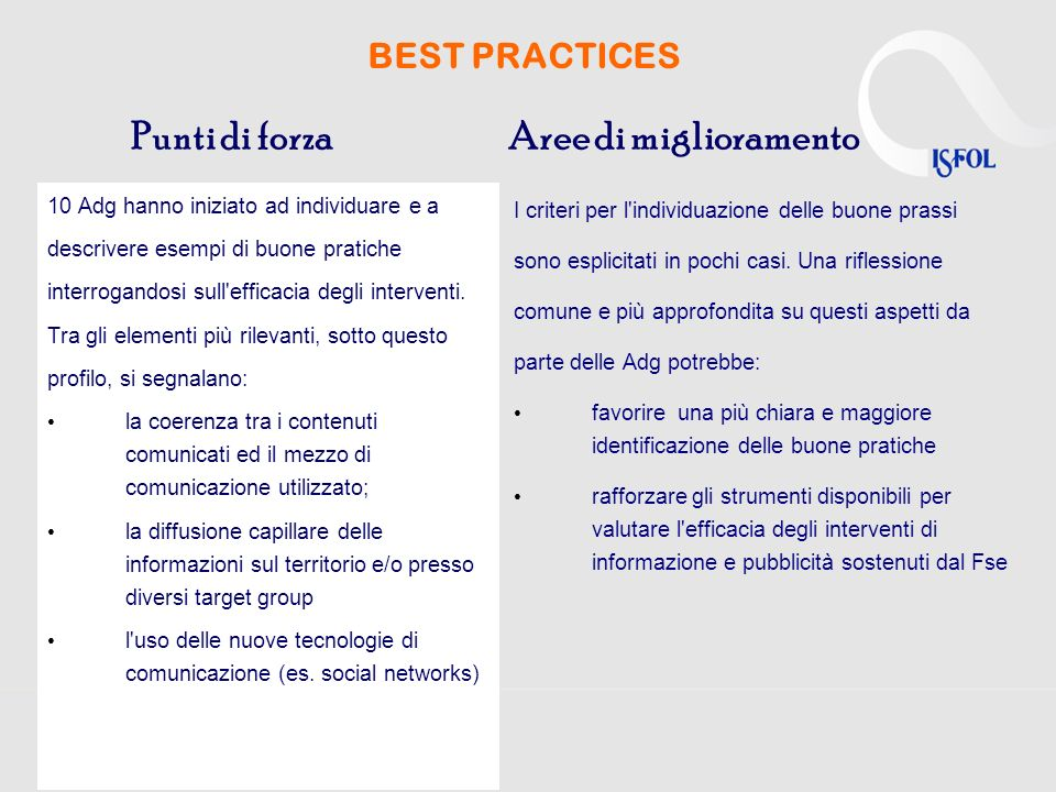 BEST PRACTICES 10 Adg hanno iniziato ad individuare e a descrivere esempi di buone pratiche interrogandosi sull'efficacia degli interventi. Tra gli el